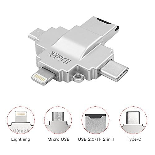4 PORTS FOR MULTI USE: lightning + Micro USB + Type C + Micro SD Card
