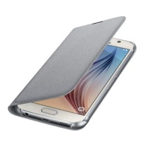 Samsung S6 Flip Wallet Canvas Silver