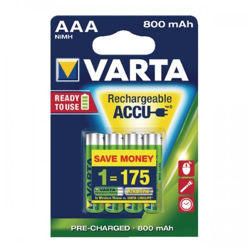 Varta AAA 800 mAh  rechargeable accu ready to use NiMH (4pack)